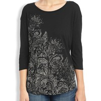 Lucky Brand Blooming Woodcut Tee Womens - Lucky Black