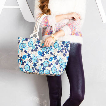 Women's Small Blue Flower Print Canvas Colorful Rope Handle Tote Bag Purse