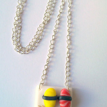 Sushi plate necklace, miniature food, jewelry