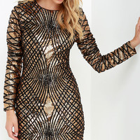 Truth or Dare Black and Gold Long Sleeve Sequin Dress