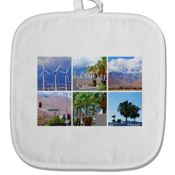 Palm Springs Square Collage White Fabric Pot Holder Hot Pad