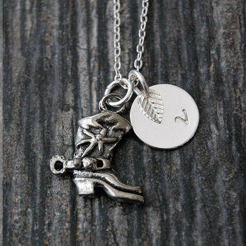 Silver Cowboy Boot Charm Necklace, Initial Charm Necklace, Personalized, Boot Charm, Cowboy Pendant, Cowgirl Jewelry, Cowgirl charm