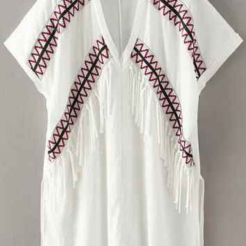 White Embroidered T-Shirt with Tassels