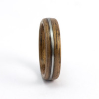 Walnut and Guitar String Ring, Handmade Bentwood Jewelry