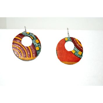 LALA Orange And Brown Ankara Fabric Earrings