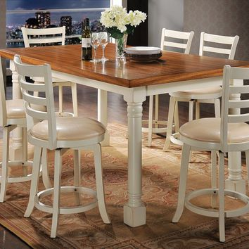 Acme 71440-42 7 pc wilton two tone distressed oak and antique cream finish wood counter height dining table set