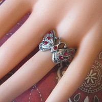 Vintage Silver Butterfly Ring With Red Crystals