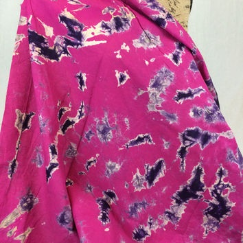 Made in Kenya--African Tie Dye Fabric--African Batik Fabric--Pink and Dark Purple-African Fabric by the HALF YARD