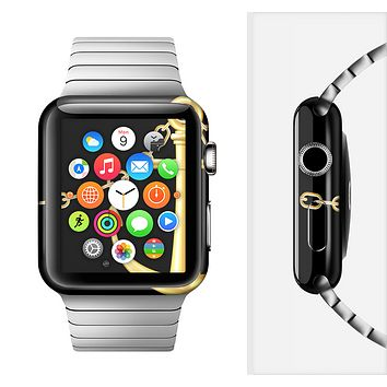 The Gold Linking Chain Anchor Full-Body Skin Set for the Apple Watch