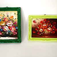 FREE SHIPPING---Vintage repurposed art of flowers with painted frames/ spring decor/ lime green / forest green / paintings