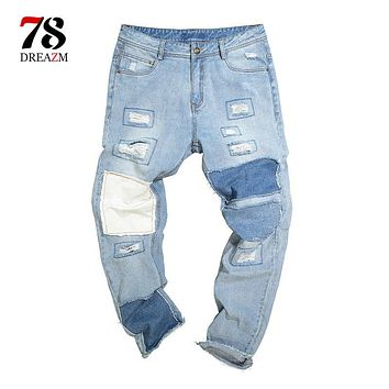 Men Casual ripped jeans Male Brand Straight Hip hop Trousers Long Pants Cotton Sweatpants Jogger Tracksuit Funky Sweatpants