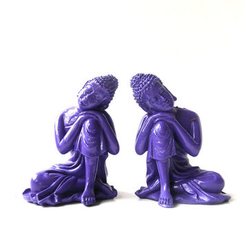 buddha figurines, small buddha, purple, zen, asian home decor, bohemian