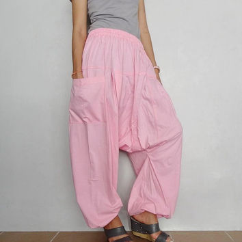 Soft Pink Drop crotch long trouser,Unisex Yoga unique Baggy harem pants, cotton blend (Drop pants-47)