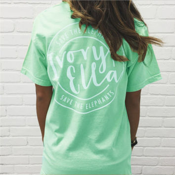 """Ivory Ella"" Letter and Elephant Print T-Shirt"