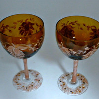 Unique Hand Painted Amber Wine Glasses by PaintedDesignsByLona
