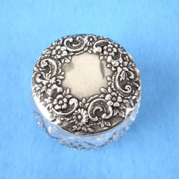 Sterling Silver Lid Dresser Vanity Jar Hand Engraved 1920s Repousse Flower Top EAPG Base