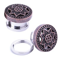BodyJ4You Plugs Ear Gauges Rose Gold Tribal Flower Lotus Screw Fit 0G 16mm Piercing Jewelry