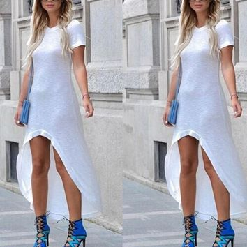 White Plain Irregular Round Neck Short Sleeve Maxi Dress