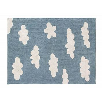 Clouds Pattern Cotton Rug (Vintage Blue)