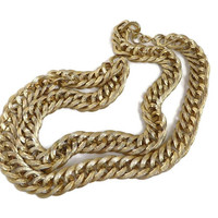 Long Gold Tone Chunky Necklace - Vintage Heavy Chain Link, 1980s Statement Necklace, Classic Gold Link Necklace