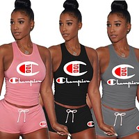 Champion Summer Fashion Women Leisure Print Sleeveless Vest Top Shorts Two Piece Sportswear