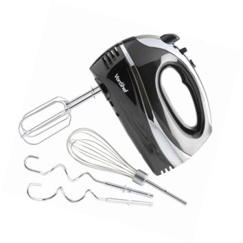 VonShef BLACK 250W Hand Mixer Whisk With Chrome Beater, Dough Hook, 5 Speed and