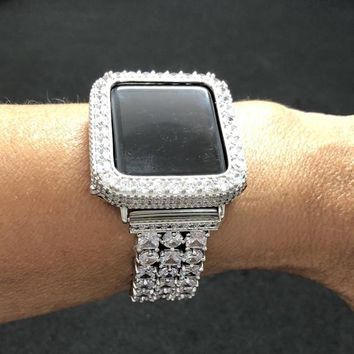 Bezel Apple Watch Silver Case Cover Women's Mens 2mm Lab Diamond 38mm 42mm Rhinestones Crystals Iced Out Cz's Bling Fake Diamond Bezel Only