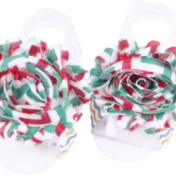 Shabby Chic Baby Toddler Barefoot Sandal Red Green Chiffon Flower Elastic Foot Wear  2 Pc 1 Pair New Item