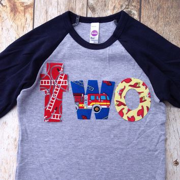 Birthday Shirt two shirt fire truck engine firetruck for boys blue 2nd - Navy and Grey Baseball Raglan primary red blue yellow