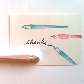pen rubber stamp. calligraphy pen stamp. hand carved rubber stamp. hand carved stamp. back to school. writing letters. diy craft projects.