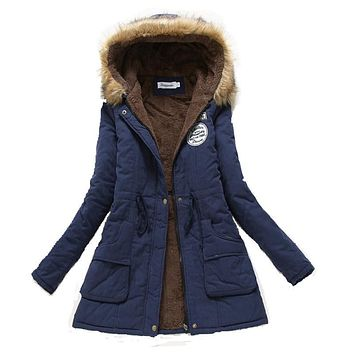 2017 Winter Coat Women jacket  Parka Casual Outwear Military Hooded Thickening Cotton Coat Winter Jacket Fur Coats Women Clothes