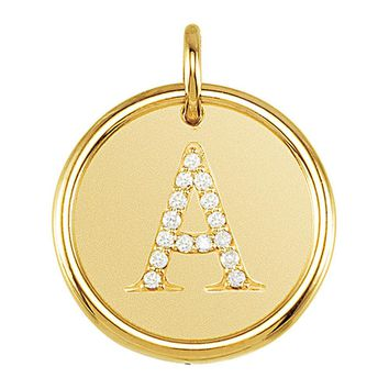 1/15 Ctw G-H, I1 Diamond initial 17mm 14k Yellow Gold Pendant Letter A