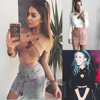 Fashion Hollow Crisscross Bandage Long Sleeve T-shirt Crop Tops