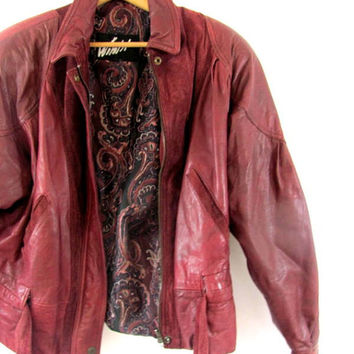 Vintage ox blood red leather bomber jacket / puffy leather coat // XL