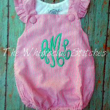 Monogrammed Girls Bubble, Personalized Baby Bubble, Monogrammed Angel Sleeve Bubble, Birthday Romper You Design