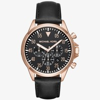 Gage Rose-Gold Tone and Leather Watch | Michael Kors