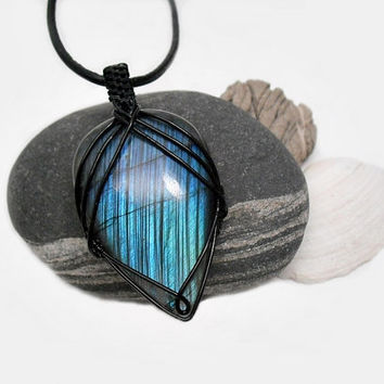 OOAK Wire wrapped Labradorite, blue fire stone, intricate wire wrap, black copper wire, black leather necklace, unique necklace for women