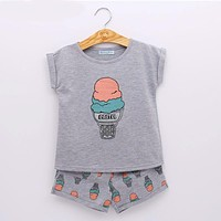 Girls Fashion Ice Cream Clothing Sets Girls Clothes Kids Clothing Sets T-Shirt + Short KIDS SUIT