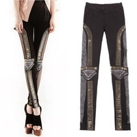 Sass**Fishnet Lace Bullet Beaded Embellished Leggings for sale