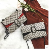 Gucci Women Girl Print Shopping Leather Metal Chain Crossbody Shoulder Bag B