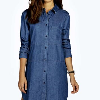 Bella Button Through Panelled Denim Dress