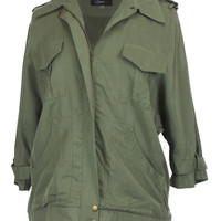 Safari Land Light Weight Military Cargo Jacket - Olive Green