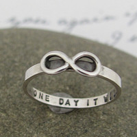 "Infinity ring, hand stamped personalized, ""skinny fit"" ring in sterling silver"