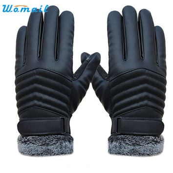 Men's Leather Gloves WOMAIL Delicate Men Winter Gloves driving glove Slip Men Thermal Winter Gloves