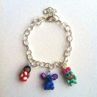 Lilo and Stitch Inspired Charm Bracelet Polymer by aWishUponACharm