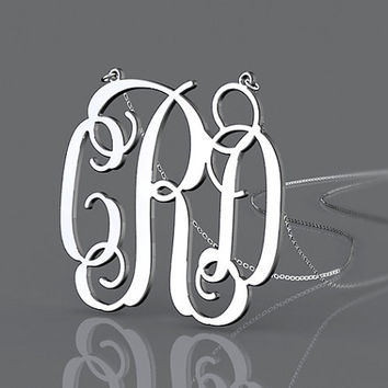 Personalized necklace 925 sterling silver --1.25 inch monogram customized necklace