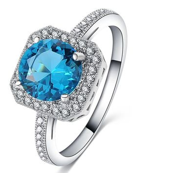 Blue Cubic Zirconia Cocktail Rings For Women
