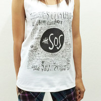 5SOS 5 Seconds of Summer Graphic Women Sleeveless White Tank Top Tanktop Tshirt T Shirt