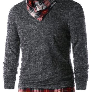 Plaid Trim Heaps Collar Top