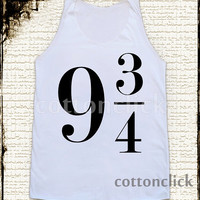 S,M,L -- Platform 9 3/4 Shirts Sign Harry Potter Shirts Women Shirts Unisex Shirts Vest Women Tank Tunic Top Sleeveless Singlet White Shirt